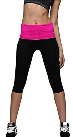 Femme Helisopus sport de taille et pantalons fitness yoga Sportswear (Rose)
