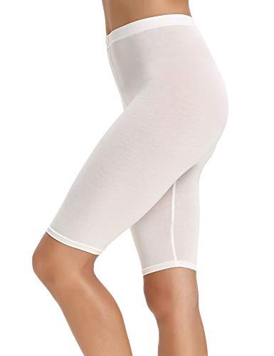 Abollria Damen Shorts Leichte Kurze Leggins Stretch Atmungsaktive Hose Unter Rock und Kleid Weiß S-XL