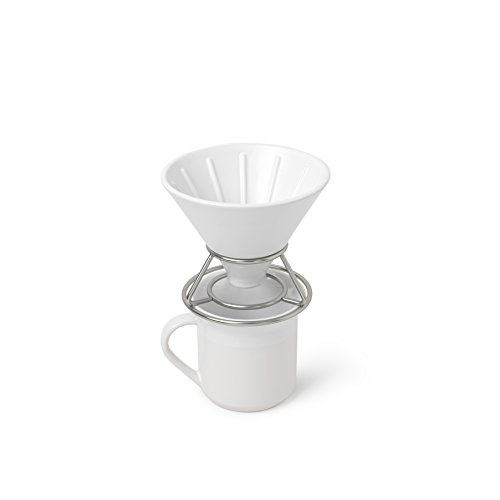 Umbra Perk Filterkaffee-Set, Keramik, Weiß/Nickel, 15 x 13 x 13 cm