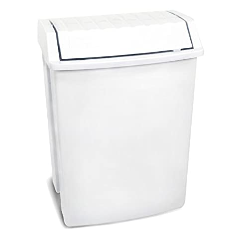 TATAY 1100901 - Waste Bin with Swing Lid, Plastic, White, 49 l