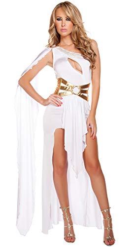 FUNFSEX Sexy römische griechische Göttin Kostüm weiß schwarz griechische Schönheit Kostüm Prinzessin Kostüm Halloween Kostüme für Frauen - eine Größe, White (Schwarze Halloween-kostüme Frauen)