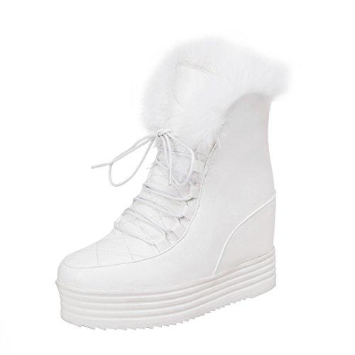 YE Damen Keilabsatz Ankle Boots Gefütterte Schnürstiefel Plateau mit Fell Bequem Warm Schuhe
