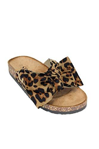 irisaa Bunte Pantoletten Sandalen mit Schleifen oder Blumen zum Sommer, 2019 Patoletten Farbe (1):Leopard, Schuhgröße 36-41:40