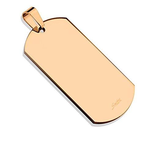 Bungsa® Erkennungsmarke Gravierbares Dog Tag ID Platte Edelstahl Gold schwarz roségold Männer (Militär Gravur Armee Hundemarke Halskette Kettenanhänger Pendant Anhänger Chirurgenstahl Damen Herren) (Logo-medallion Herren)