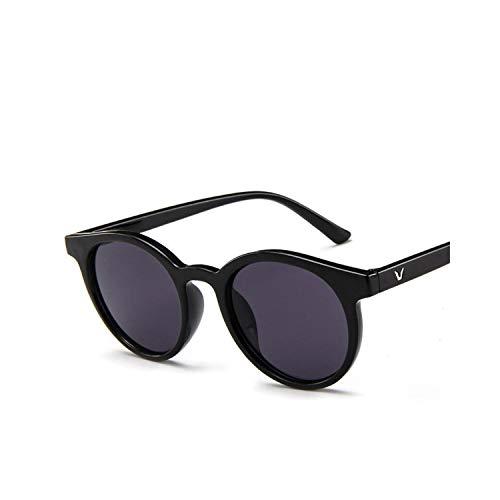 Sportbrillen, Angeln Golfbrille,[EL Malus] New Round Frame Sunglasses Women Retro Brand Designer Pink Green Yellow Sun Glasses Female Fashion Outdoor Driving C3 Black Gray