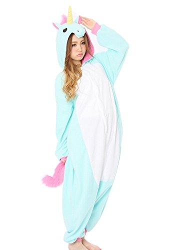 Dato Adulte Pyjama Kigurumi Unisexe Animal Onesie Pajamas Cosplay Deguisement Costume (Bleu Licorne)