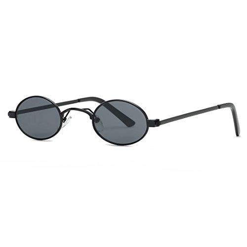 kimorn Sonnenbrille Kleine Runde Metallrahmen Oval Bonbonfarben Unisex Gläser K0577 (Schwarz)