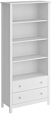 Ditalia MDP UV 2 Drawer Bookshelf, E-953, White, H 181.6 x W 34.3 x D 84.1 cm