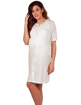 Premamy - Camicia Clinica Da Notte Maternità Aperta Davanti Mezza Manica 100% Cotone Jersey