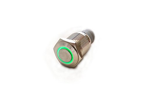 Klingeltaster Vandalismus Taster Drucktaster Öffner / Schließer Ø 16mm beleuchtet grün LED