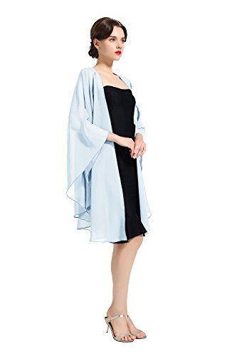 Chiffon Schal Stola Bolero Damen Für Abendkleid Festlich Hochzeit Braut Frühling Sommer Jacke Hellblau Light Blue Schal