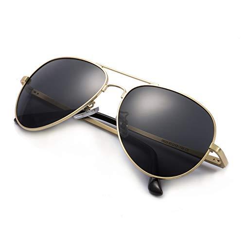 SODQW Sonnenbrille Herren Polarisiert Pilotenbrille Klassisch Flieger Brille für Autofahren Angeln Metallrahmen 100% UVA/UVB Schutz (Gold/Graue polarisierte Linse(kein Spiegel))