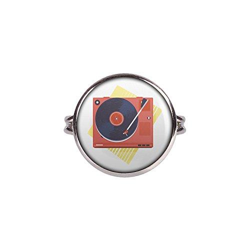 Mylery Ring mit Motiv Vinyl Schall-Platte Platten-Spieler Turn-Table silber 16mm