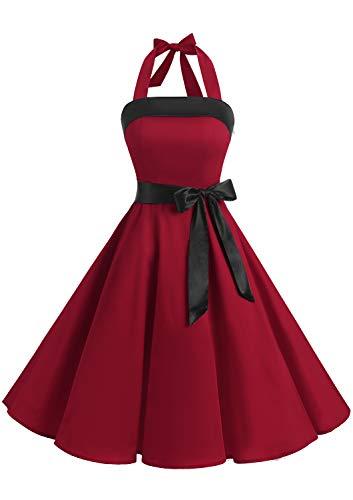 Timormode 10212 Damen 1950er Vintage Abendkleid Elegant Neckholder Retro Cocktailkleid Faltenrock Kleid Partykleid Cocktailkleid Tiefrot XL