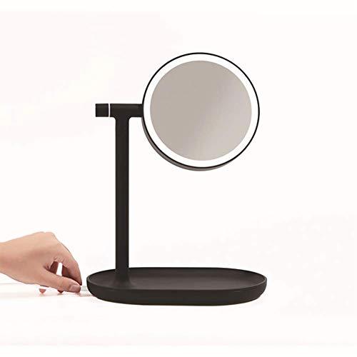 ZNDDB Flip kosmetikspiegel Schreibtisch mit Lampe einfache LED beidseitige schminkspiegel- / Tischleuchte, 240 * 158 * 320mm,Black