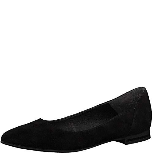 Tamaris 1-1-22156-22 Damen KlassischeBallerinas,Flats,Sommerschuh,klassisch elegant,Black Suede,40 EU