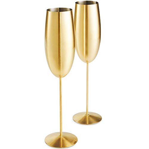 Jeu de 2 Flûtes à champagne en or brossé VonShef : acier inoxydable incassable