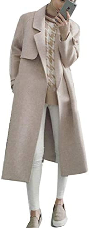 Trench Donna Lunga Cappotto Moda Lana Primaverile Autunno Moda Cappotto  Classiche Mode di Marca Casual Puro Coloreee Manica Lunga... a2df2a 3723c8098b6
