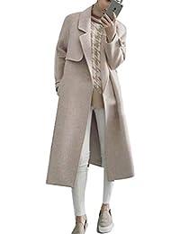 Pureed Gabardina Abrigo Mujer Largos Primavera Parka Moda Lana Otoño Solapa  Joven Manga Larga Jacket con Bolsillos Slim Fit Abrigos… 89fffad1355f