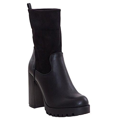 Toocool - Scarpe donna stivali stivaletti tronchetti gambale scamosciato nuovi D1515 Nero