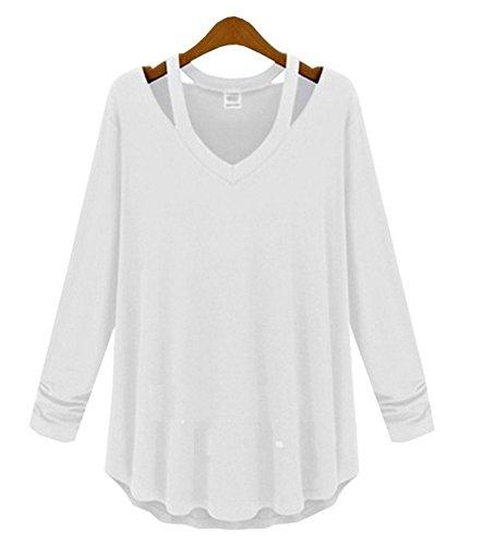 YPtong Magliette Tinta Unita T-shirt V Scollo Spalle Scoperte Eleganti Top Taglie Forti Maniche Lunghe Casual Bianco