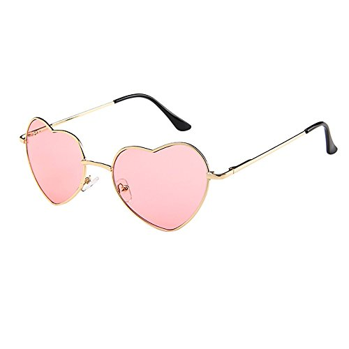 Honestyi Mens Womens Metallrahmen Damen Herzform Sonnenbrille Lolita Love Transparente Tablette Liebe Brille # 014