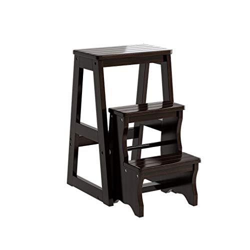 Cabrio Pan (PAN Massivholz-Trittleiter, 3-stufiger Klappstuhl, Sitzbank, multifunktionale Holz-Trittleiter für die Küche, dekorativer Trittleiter (Color : Black))