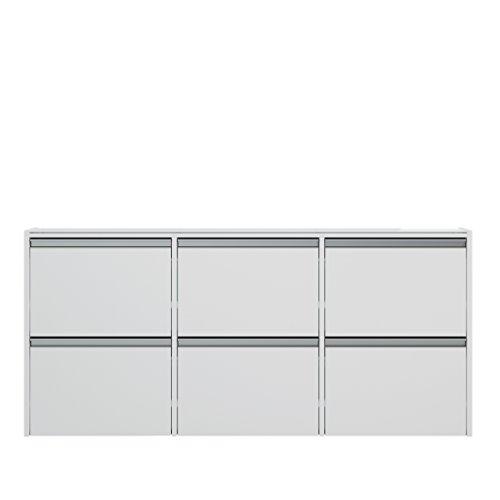 Steens Skyline Schuhschrank , 6 Fächer, zur Wandmonatge geeignet, 18 x 153 x 71 cm, MDF, Weiß