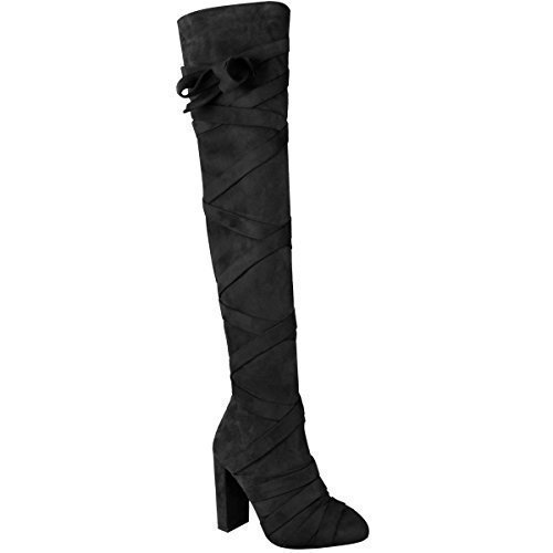 Womens Ladies Thigh High Boots Over The Knee Party Block High Heels...