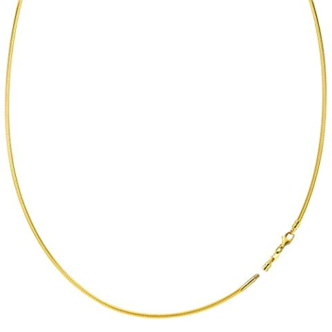 Round Omega Chain Necklace With Screw Off Lock In 14k Yellow Gold, 1.5mm