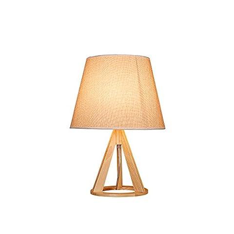 Moderne Tischlampe-XCH Dazzling DL-E27 Massivholz Lampe Körper Stoff Kunst Lampenschirm 110-240 Volt Spannung Kreative Mode Holz Kunst Dekoration Lichter Größe Hoch 19,6 Zoll