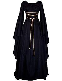 LaoZanA Donna Abito da Cocktail retrò Vestito Medievale Lungo Costume di  Halloween c4c3a72786e
