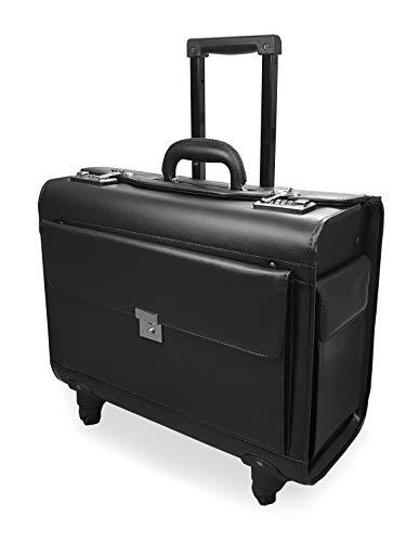 Roamlite Pilotenkoffer mit 4 Rädern, Handgepäckgröße Reisekoffer für Business mit Dual Zahlenschlössern in PU Kunstleder Optik - für Damen und Herren - schwarz RLPC9144K -