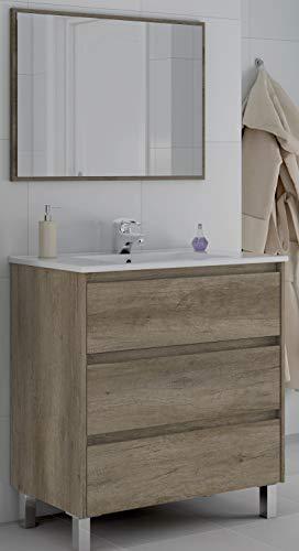 piushopping mobile bagno da terra 80cm 3 cassetti ante legno specchio lavabo ceramica arredo rovere
