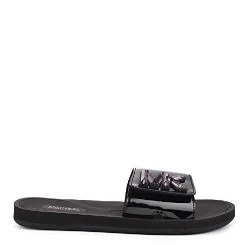 Michael by Michael Kors MK Black Patent Slide Sandali con Cinturino in PVC Nero, Sandali da Donna 40 Nero