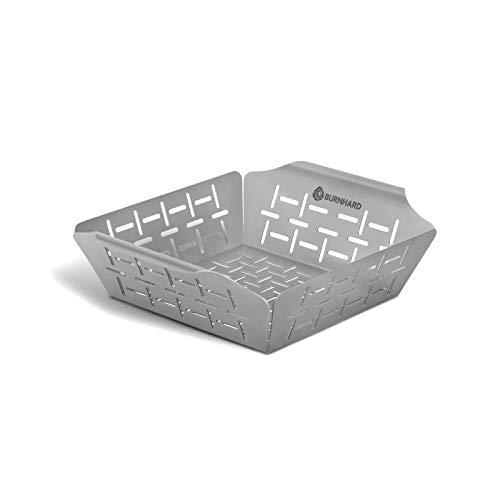Grillkorb/Grillschale für Gemüse, Edelstahl, Gemüsekorb für Gasgrill, Spülmaschinenfest - Grillkorb 24,5x19x5,5 cm