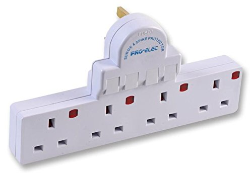 Pro Elec 4 Gang Switched And Surge Protected Electric Socket Adaptor White