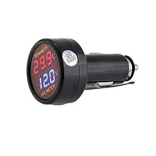 JZK Voltmeter & Thermometer 2 in 1, digital anzeige Auto Batterie Spannung temperatur Gauge Monitor Tester Meter voltmesser, DC 12V 24V