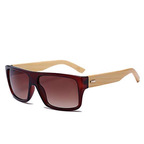 WDDYYBF Sonnenbrillen, Holz Sonnenbrille Men Square Spiegel Holz- Sonnenbrillen Für Männer Bambus Brillen Uv400 Classic Retro Braun Kaffee
