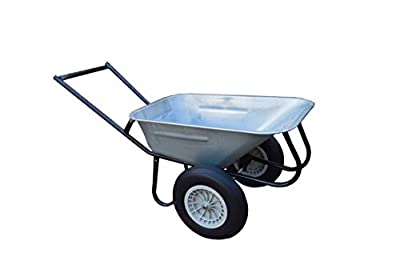 100L galvanised wheelbarrow with handlebar and puncture proof wheels - Delivered fully Assembled