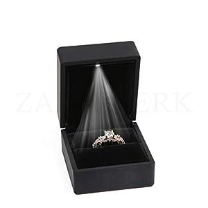 ZADAWERK® Ringbox – mit LED – Schwarz – Schmuck, Hochzeit, Verlobung, Heiratsantrag