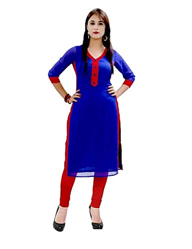 Clothfab Women\'s Cotton Kurti (Blue_Free Size)