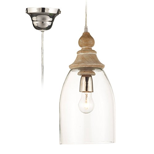 Loberon Hängelampe Raina, Glas, Holz, H/Ø 35,5/18,5 cm, klar, E27, max. 40 Watt, A++ bis E