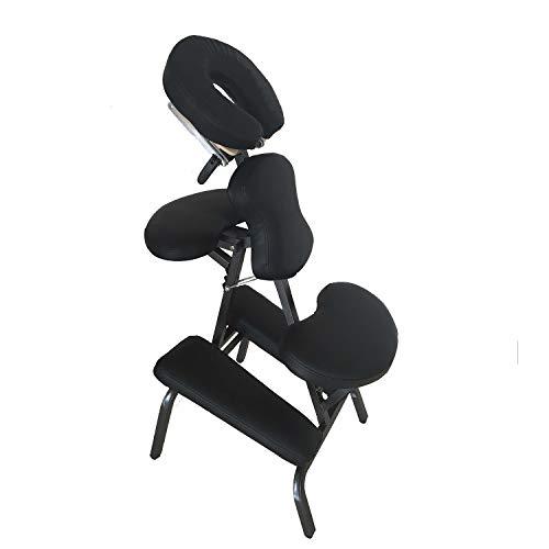Massagestuhl Tragbare Massagestühle Klappbare Tattoo-Stühle Lederpolster Spa-Stuhl Höhenverstellbar mit Tragetasche, Schwarz, KH8105-BK