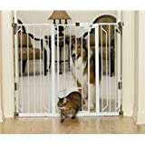 CARLSON HARDWARE PET GATES 916040 Carls Walk Through Gate with Pet Door, 42-Inch, Wide by Canine Hardware