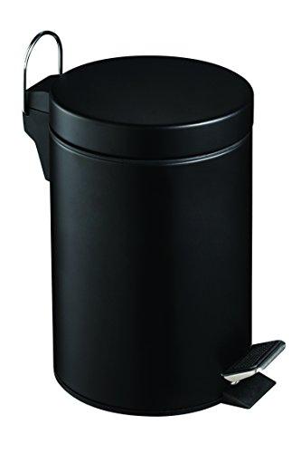 Premier Housewares - Cubo de Basura con Pedal 3 l, 26 cm x 17 cm x 23 cm, Color Negro
