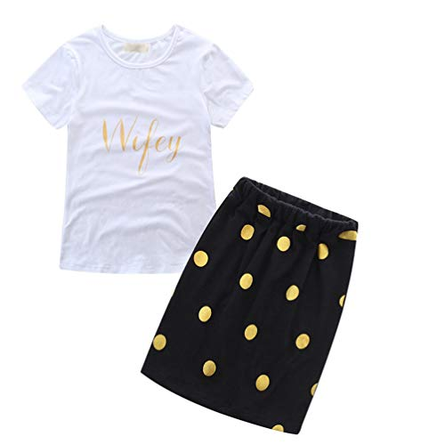 6cde49e67 Jitong Conjunto de Ropa para Mama y Niña, Manga Corta Camiseta Estampada +  Vestido de Lunares Faldas Bebé (Impreso # Mamá, Asia L)