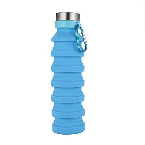 Borraccia in silicone pieghevole portatile da viaggio, sport, bollitore pieghevole, espandibile, flessibile, riutilizzabile, per campeggio, palestra, escursionismo, con moschettone da 550 ml, blue