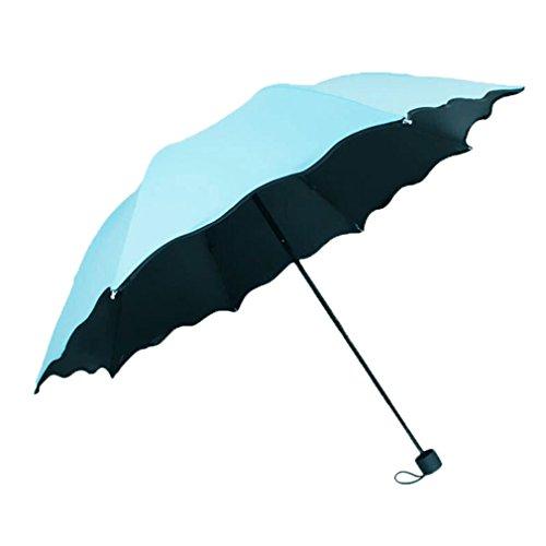 GuokeSonnig Regen Zwei Klappen Mit Drei Grossen Auto Weiblich Sonnenschutz Solar Uv-Licht Pocket Kleine Roman-Mittel Regenschirm, Upgrade - Sky Blue