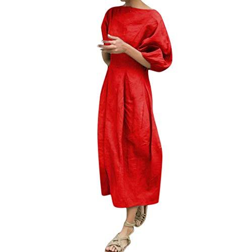 Damen kleid,Jessboy Einfarbig Sling Damen Rundhalsausschnitt Baumwolle lässig und Kurzarm Taschen lang Meer Freizeit und Unterhaltung -